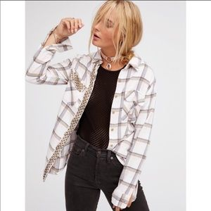 NWT Free People Erin Studded Flannel shirt size M